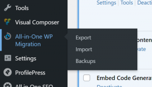 Take the current backup of the WordPress website