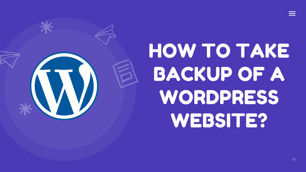 how to take backup of a wordpress website